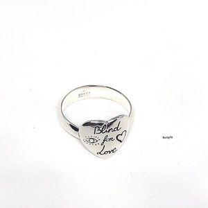 New Authentic Gucci Blind For Love Heart Ring Sz 8